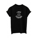 Letter Happy Face Pattern Round Neck Short Sleeve Pullover T-Shirt