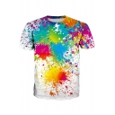 New Arrival 3D Splash-Ink Printed Casual Round Neck Short Sleeve Pullover T-Shirt