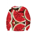 New Arrival 3D Watermelon Printed Round Neck Long Sleeve Oversize Sweatshirt