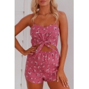 Summer's Floral Printed Spaghetti Straps Cut Out Waist Fashion Open Back Rompers