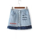 Chic Letter Embroidered Color Block Buttons Down Mini A-Line Denim Skirt