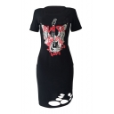 New Fashion Printed Round Neck Short Sleeve Cut Out Midi T-Shirt Dress