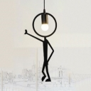 "Metal Man LED Hanging Pendant Light Black ""Pose"""
