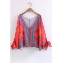 Tribal Printed Long Sleeve Bow Cuff Plunge Neck Buttons Down Sun Protection Coat