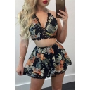 Chic Lace Trim Floral Printed Halter Neck Top with Loose Casual Shorts