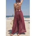 New Fashion Spaghetti Straps Tribal Print Split Front Holiday Maxi Slip Dress