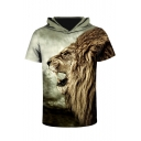 Fashion Lion 3D Printed Short Sleeve Hooded Tee