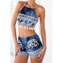 Tie Dye Halter Neck Sleeveless Tassel Hem Cropped Top with Loose Printed Shorts