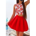 Hot Fashion Printed Round Neck Sleeveless Tank Top with Mini A-Line Skirt
