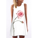 Chic Floral Printed Round Neck Sleeveless Casual Mini Swing Tank Dress