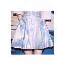 New Stylish Summer Light Reflecting Plain Mini A-Line Skirt