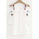 Chic Floral Embroidered Straps Cold Shoulder Short Sleeve Pullover Blouse