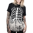 New Arrival 3D Skeleton Pattern Round Neck Short Sleeve Loose T-Shirt