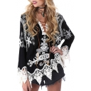 Fashion Lace Patchwork Long Sleeve Lace Up V-Neck Color Block Blouse
