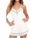 New Arrival Spaghetti Straps Hollow Out Plain Loose Leisure Rompers