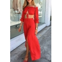 Sexy Elegant Off the Shoulder Long Sleeve Cropped Blouse with Asymmetric Skirt Plain Co-ords