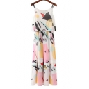 Multi Straps Sleeveless Fashion Color Block Fake Two-Piece Maxi Slip Dress