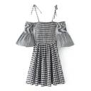 Spaghetti Straps Cold Shoulder Flared Sleeve Classic Plaids Print Mini A-Line Dress