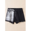 Summer's High Waist Chic Color Block Raw Edge Denim Shorts