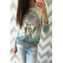 Fashion Dreamcatcher Color Block Printed Long Sleeve Round Neck T-Shirt