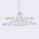 Modern LED Chandelier in Wrought Iron Style, 20 Lights 2 Tiers