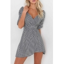 Sexy Wrap Plunge Neck Half Sleeve Belt Waist Plaids Printed Mini Wrap Dress