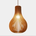 Fashion Wooden Pendant Light Hollow 15''H