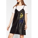 Basic Simple Round Neck Short Sleeve Tee with Embroidered Mini PU Slip Dress