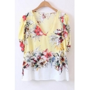 Comfortable V-Neck Floral Printed Short Sleeve Color Block Chiffon Blouse