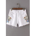 Chic Floral Embroidered Ripped Raw Edge High Waist Denim Shorts