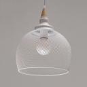 White Mesh Shade Pendant Light Modern, 7.8'' W