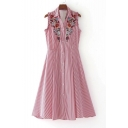 Summer Embroidery Floral Striped Pattern Lapel Sleeveless Single Breasted Midi Shirt Dress
