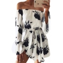 Sexy Off The Shoulder Long Sleeve Elastic Waist Floral Printed Mini Dress