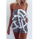 Hot Fashion Striped Printed Bandeau Sleeveless Loose Beach Rompers