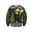 3D Jungle Bear Pattern Round Neck Long Sleeve Pullover Sweatshirt