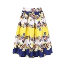 High Waist Retro Floral Printed Color Block Midi A-Line Flared Skirt