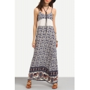 New Fashion Floral Printed Spaghetti Straps Maxi Beach Slip Dress