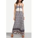 New Fashion Floral Printed Spaghetti Straps Maxi Beach Slip Dress