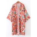 New Arrival Open Front 3/4 Sleeve Vintage Floral Printed Tunic Kimono Coat