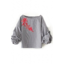 Chic Floral Embroidered Boat Neck 3/4 Sleeve Striped Printed Pullover Blouse