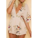 New Fashion Plunge Neck Short Sleeve Open Back Floral Printed Rompers