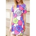 New Fashion Lovely Floral Pattern Round Neck Short Sleeve Mini T-Shirt Dress