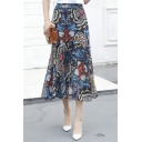 Summer's Retro Floral Printed High Rise Fishtail Maxi Chiffon Skirt