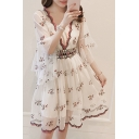 Chic Floral Embroidered Plunge Neck Flared Sleeve Midi A-Line Dress