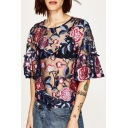 Sheer Mesh Chic Floral Embroidered Round Neck Flared Sleeve Pullover Blouse