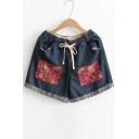 New Arrival Floral Appliqued Drawstring Elastic Waist Turn Up Hem Denim Shorts