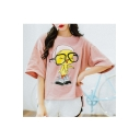Lovely Cartoon Pattern Round Neck Half Sleeve Loose Leisure Tee