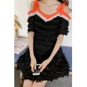 Bow Straps Cold Shoulder Short Sleeve Tassel Embellished Mini A-Line Dress