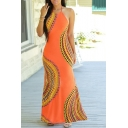 New Fashion Halter Neck Sleeveless Color Block Maxi Bodycon Dress