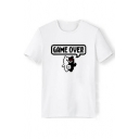 Cartoon GAME OVER Bear Graphic Printed Tee with Short Sleeve Round Neck